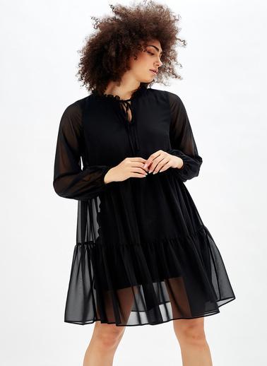 Sense Boyundan Bağlamali Uzun Kol şifon İçi Astarli Elbise Siyah